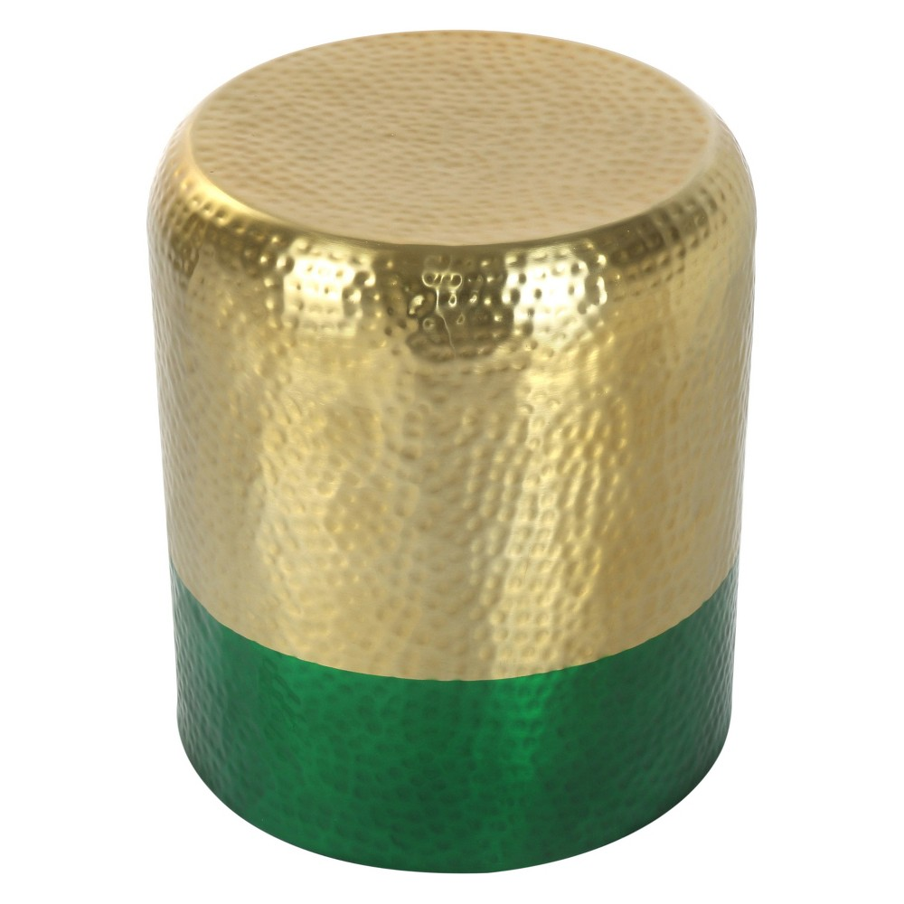 "Image of ""16"""" Luxe Drum Accent Table Gold/Green - ZM Home, Gold Green"""