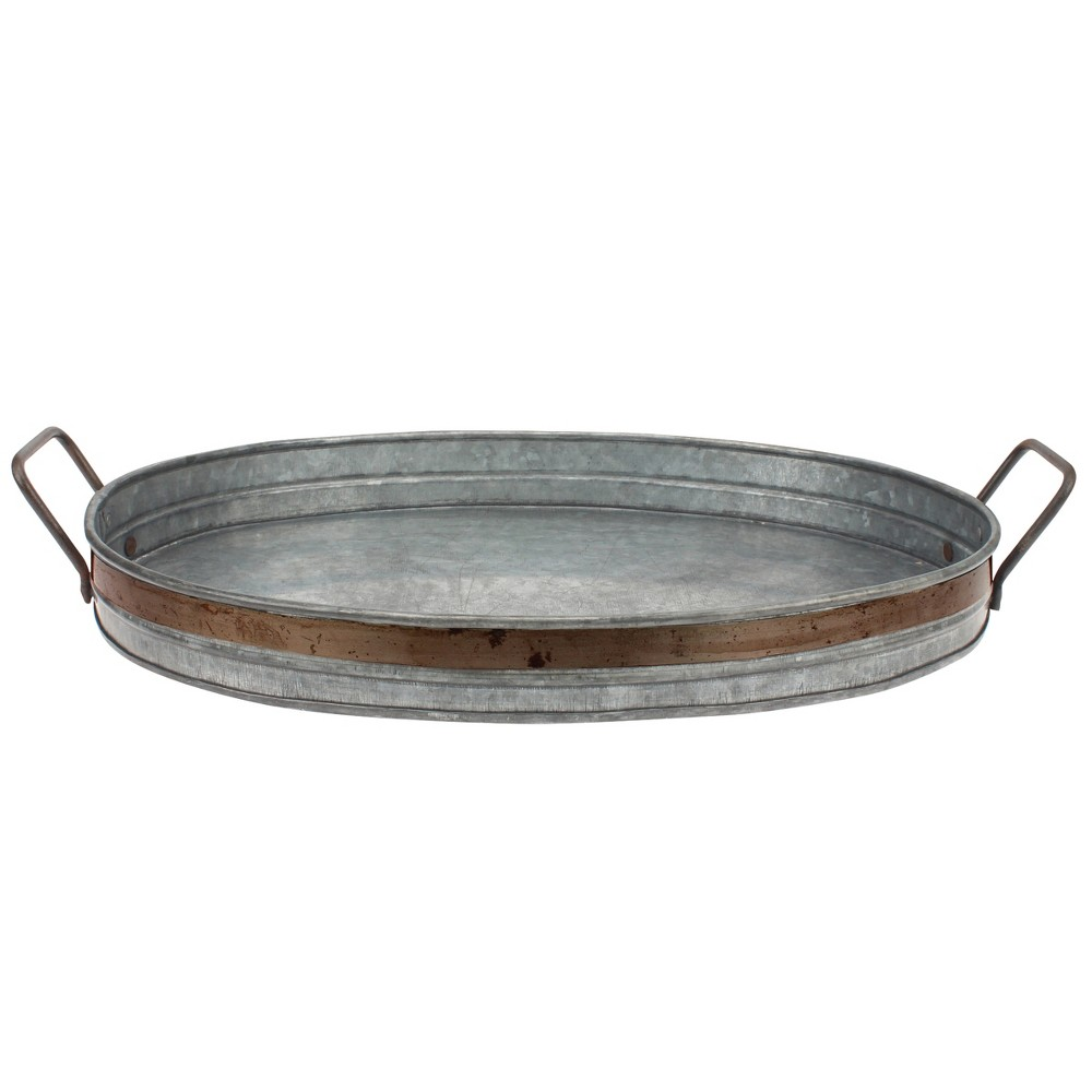 Image of Aged Galvanized Tray with Rust Trim and Handles - Gray - Stonebriar