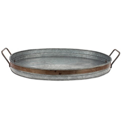 Aged Galvanized Tray with Rust Trim and Handles - Gray - Stonebriar - image 1 of 3