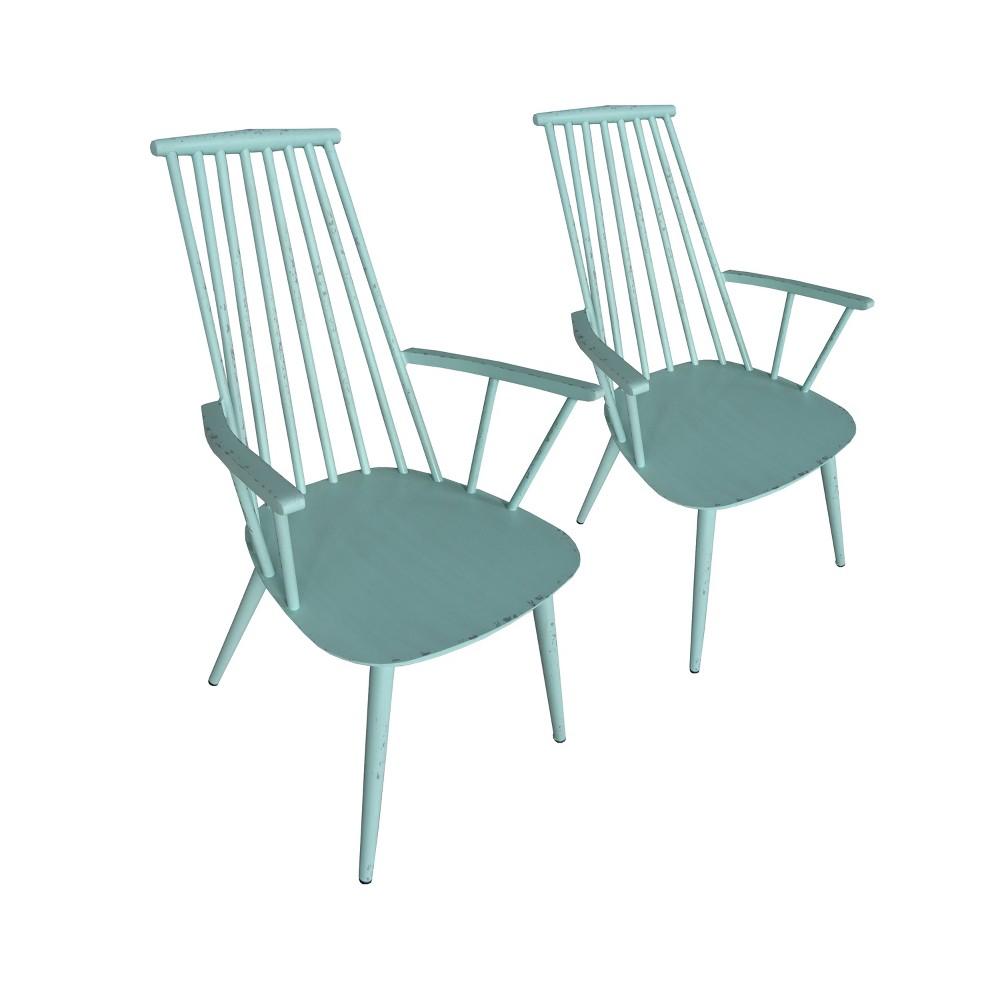 2pk Hancock Aluminum Indoor/Outdoor Rustic Dining Chair Retro Blue - Thy Hom