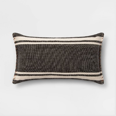 Wool/Cotton Blend Stripe Oversize Lumbar Pillow with Whipstitch Trim Black - Threshold™