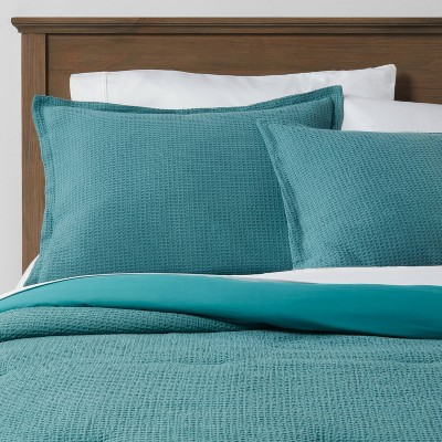 Full/Queen Washed Waffle Weave Comforter & Sham Set Teal - Threshold™