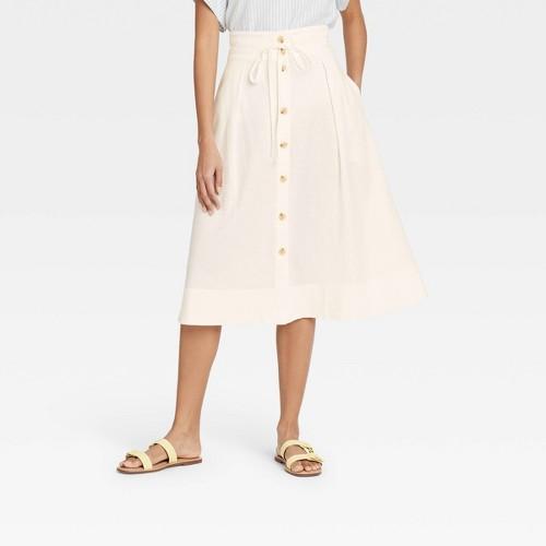 Women S Midi A Line Skirt A New Day Cream XL Ivory