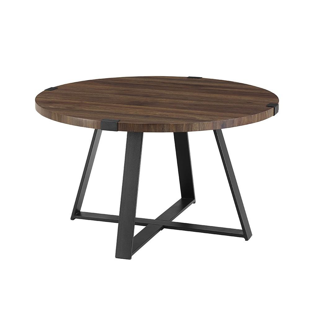 30 Metal Wrap Round Coffee Table Dark Walnut - Saracina Home