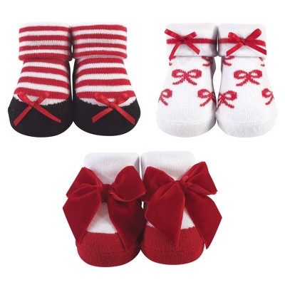 Hudson Baby Infant Girl Socks Boxed Giftset, Red Bows, One Size