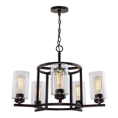 5-way Light Chandelier with Clear Glass Shade Bronze - Decor Therapy