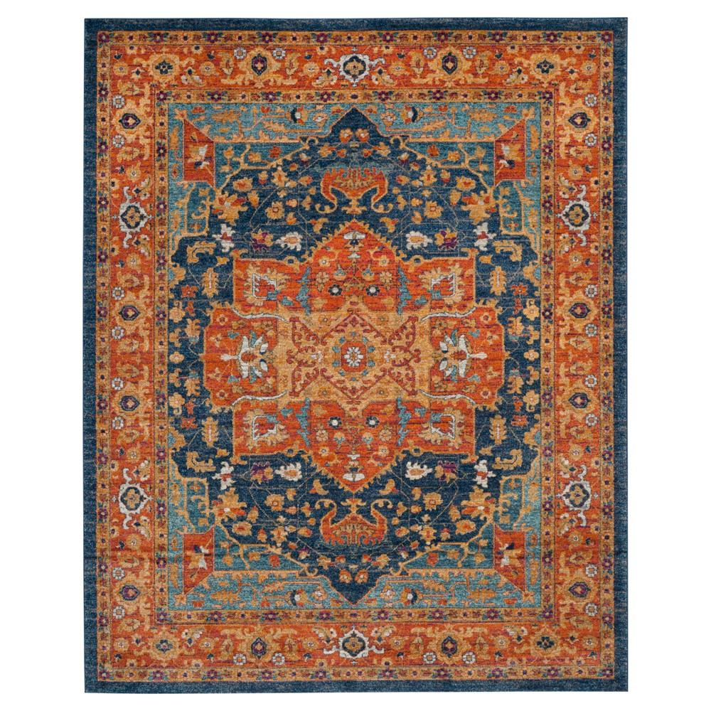 Orange Shapes Loomed Area Rug 8'x10' - Safavieh, Blue/Orange