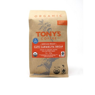Tony's Coffee Carmelita Decaf Whole Bean Medium Roast Coffee - 12oz