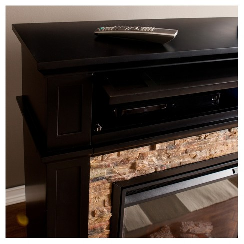 Miraculous Crestshire Faux Stone Electric Media Fireplace Black Aiden Lane Home Interior And Landscaping Ponolsignezvosmurscom