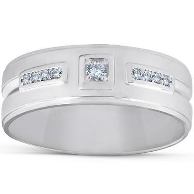 Pompeii3 1/4 Ct Diamond Mens Wedding Band High Polished 7mm Ring