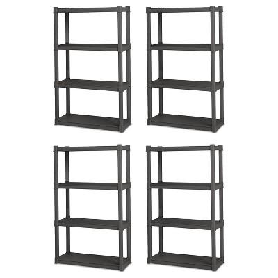 Sterilite 4 Shelf Durable Solid Gray Surface Shelving Unit, 4 Pack | 01643V01