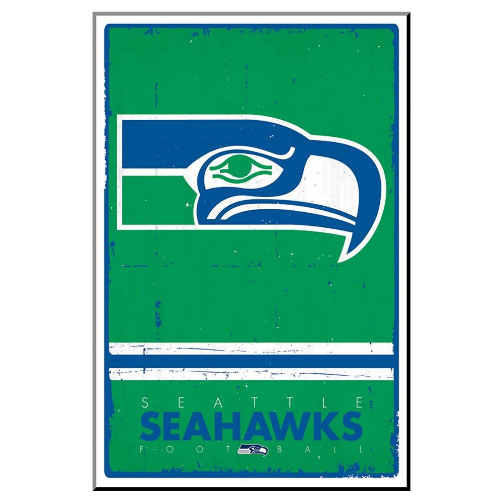 Seattle Seahawks - Retro Logo 15, Mounted Print, Green