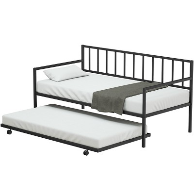 Costway Platform Bed Sofa DayBed Twin Trundle DayBed 4 Casters Mattress