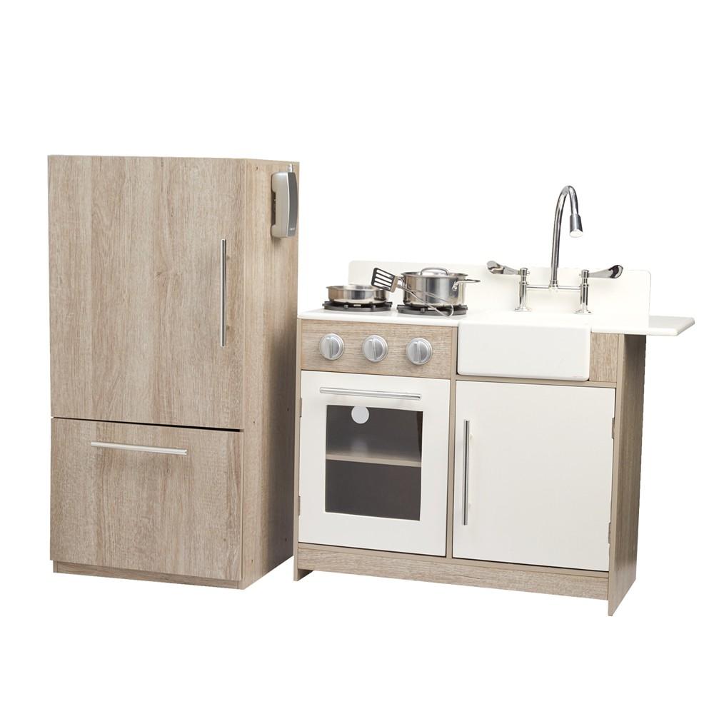 Teamson Kids Soho Big Play Kitchen, Oak Grain&silver