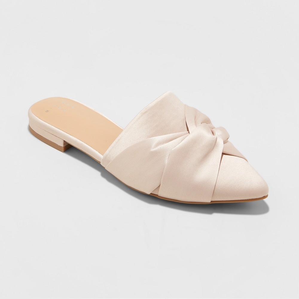 Women's Cadence Knotted Mules Satin Espadrilles - A New Day Blush 6.5, Pink