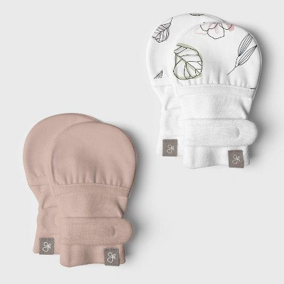 Goumi Baby Girls' 2pk Organic Cotton Abstract Floral Mittens - Pink 0-3M