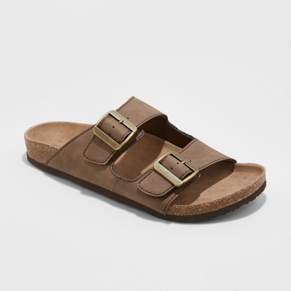 Image of Men's Ashwin Footbed Sandals - Goodfellow & Co Brown 10