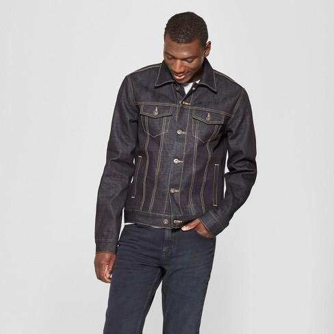 d01822216fd Men s Selvedge Denim Jacket - Goodfellow   Co™ Alpha Blue   Target