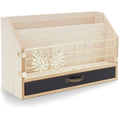 Rustic Wooden Desk Organizer for Office Supplies (11 x 6.7 x 4 In)