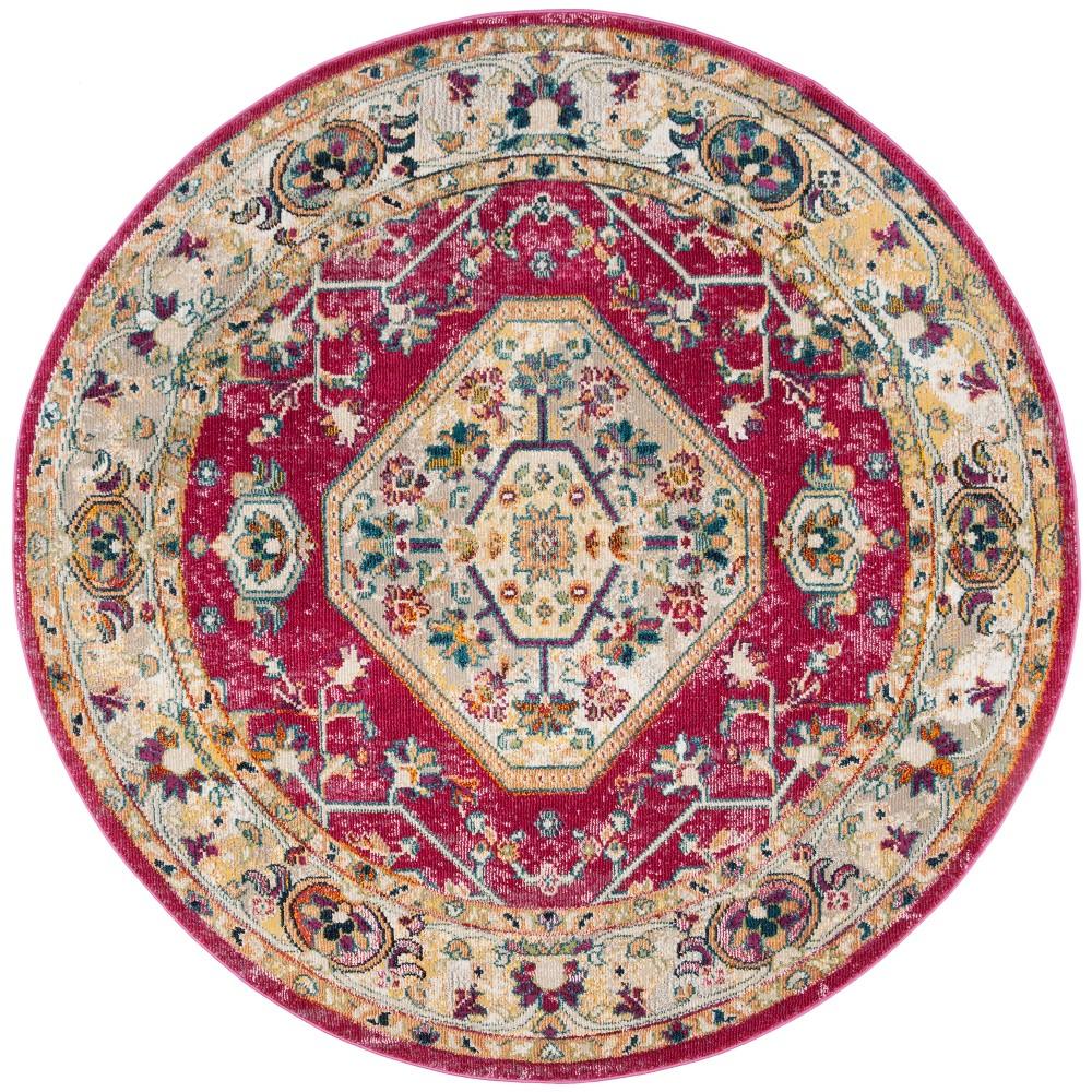 7' Medallion Loomed Round Area Rug Violet (Purple) - Safavieh