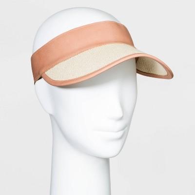 Woemen's Straw Visor Hats - Universal Thread™ Natural One Size