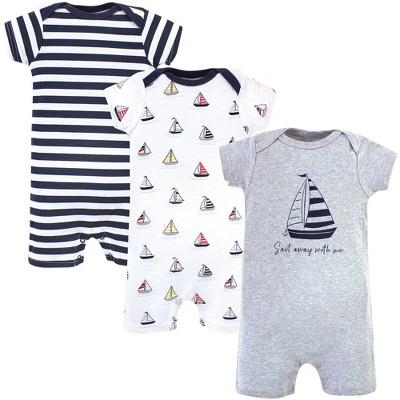 Hudson Baby Infant Boy Cotton Rompers 3pk, Sailboat