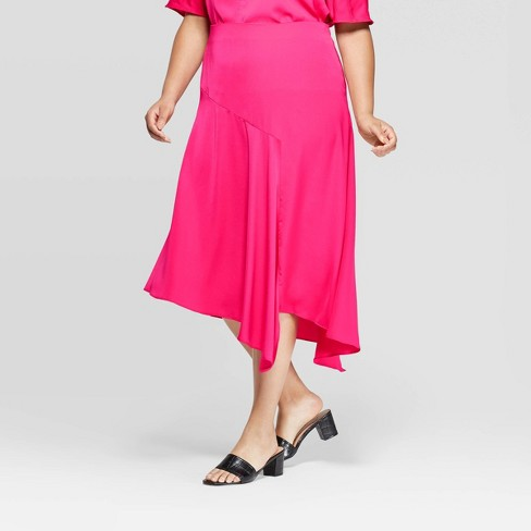 Women's Plus Size Asymmetric Seamed Slip Skirt - Who What Wear™ Pink - image 1 of 3