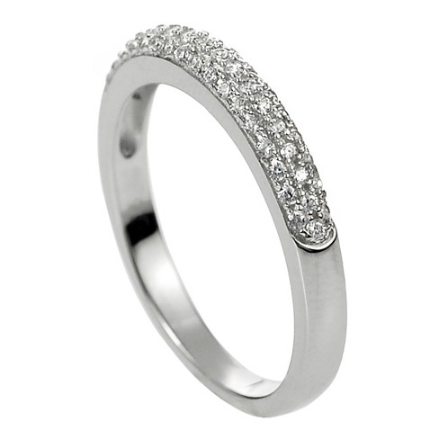 1 9/10 CT. T.W. Round-cut Cubic Zirconia Wedding Band Pave Set Ring in Sterling Silver - Silver - image 1 of 2
