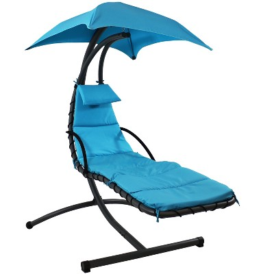 Teal Hanging Chaise Lounge Chair with Canopy Umbrella - Sunnydaze Decor