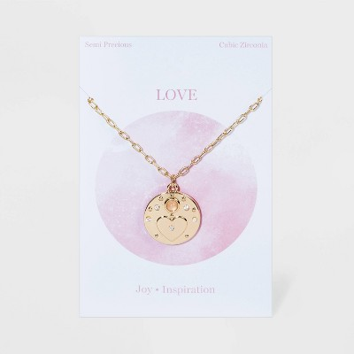 Heart Medallion with Semi-Precious Stone Chain Necklace - Gold
