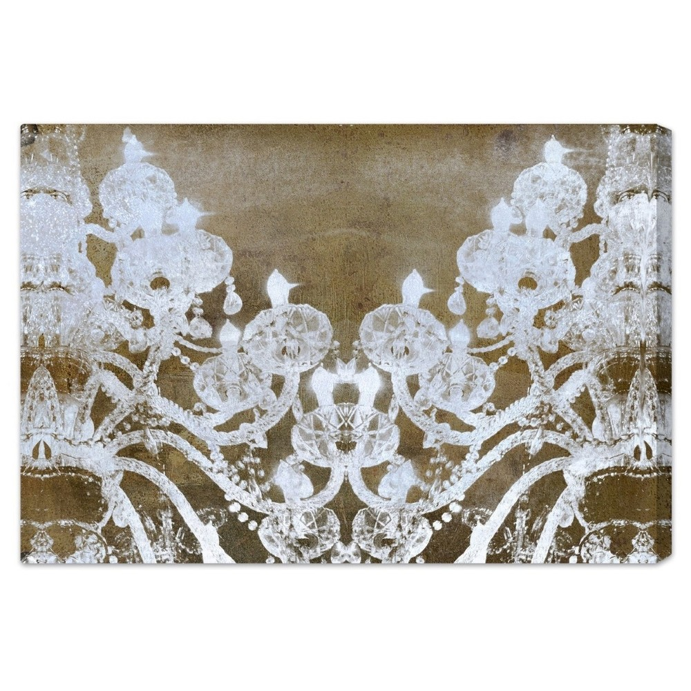"Image of ""Oliver Gal Unframed Wall """"Fortuna"""" Canvas Art (24x16), White Gold"""