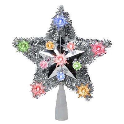 "Northlight 9"" Lighted Silver Star Christmas Tree Topper - Multicolor Lights"