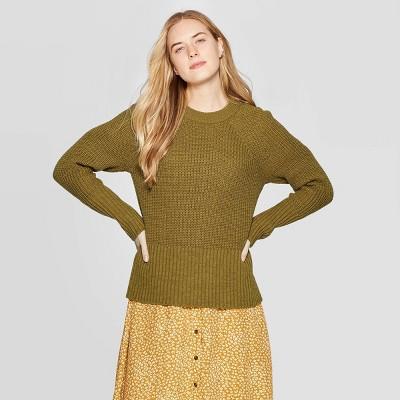 Women's Crewneck Raglan Pullover Sweater - Universal Thread™ Moss M