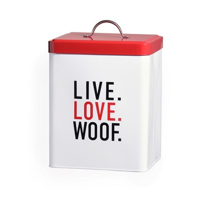 Amici Pet Live Love Woof Metal Food Canister, 208oz