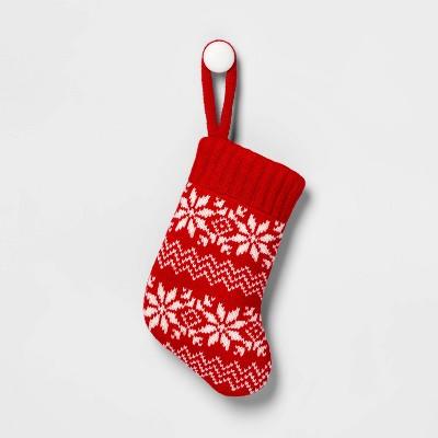 Fair Isle Knit Mini Christmas Stocking Red & White - Wondershop™