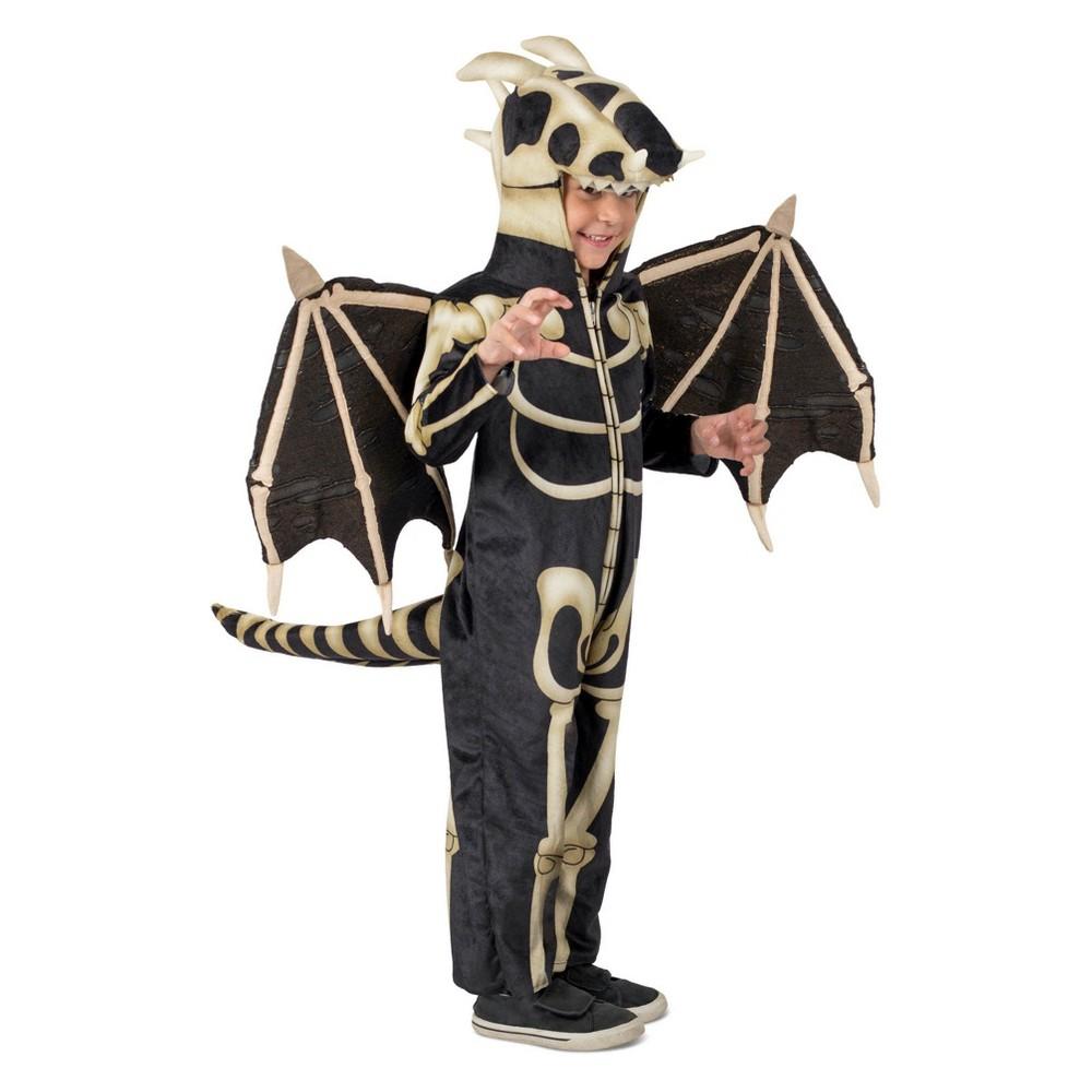 Kids' Dragon Skeleton Halloween Costume M, Kids Unisex, Black