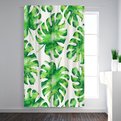 Americanflat Monstera Leaves by Tracie Andrews Blackout Rod Pocket Single Curtain Panel 50x84