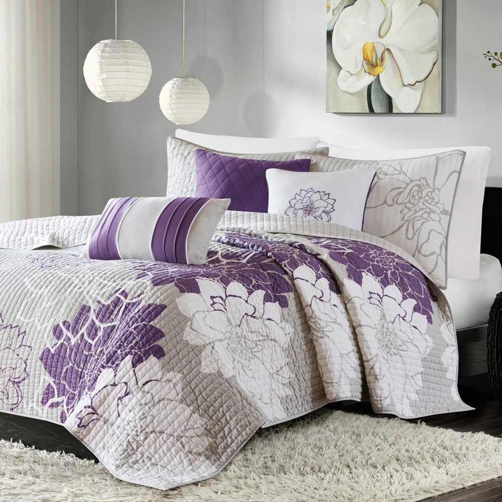 Best Victoria 6 Piece Quilted Coverlet Set- Gray   Purple (King Cal King)