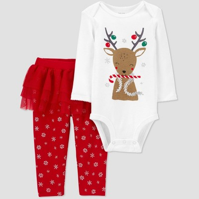 Baby Girls' 2pc Christmas Reindeer Tutu Top and Bottom Set - Just One You® made by carter's Red/White 3M