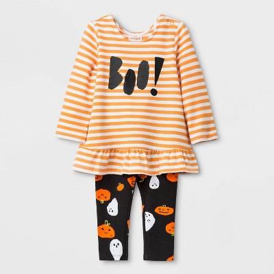 "Baby Girls' Halloween ""Boo!"" Long Sleeve Top and Bottom Set - Cat & Jack™ 6-9M"