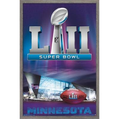 """Trends International NFL Super Bowl LII - Celebration Framed Wall Poster Prints Barnwood Framed Version 14.725"""" x 22.375"""""""