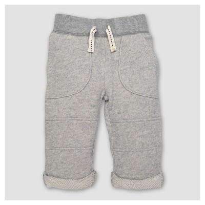 Burt's Bees Baby® Boy's Organic Loop Terry Rolled Cuff Pants - Heather Gray 0-3M