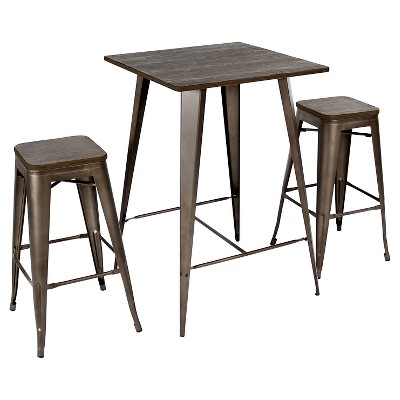 3pc Oregon Industrial Pub Set Antique Metal Dining Sets Espresso Wood Top - LumiSource