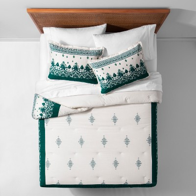 Teal Ornamental Border Comforter Set (King)- Opalhouse™