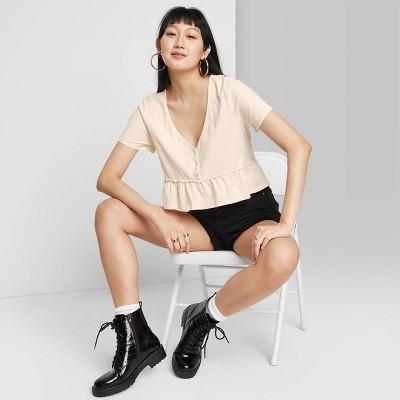 Women's Short Sleeve V-Neck Button-Front Peplum T-Shirt - Wild Fable™