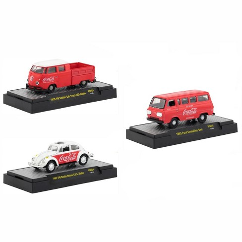 """""""Coca-Cola"""" Release 4, Set of 3 Cars Limited Edition to 4,800 pieces Hobby Exclusive 1/64 Diecast Models by M2 Machines - image 1 of 4"""