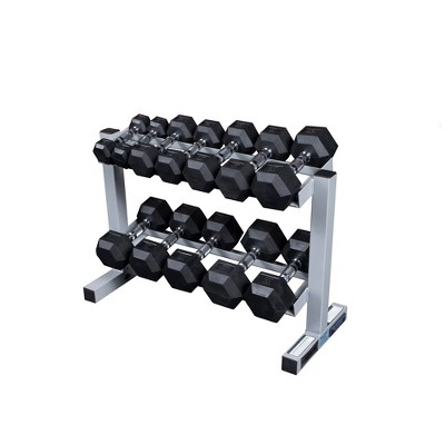 Powerline Dumbell Rack with 5-30LBS Rubber Hex Dumbells - (PDR282xWS)