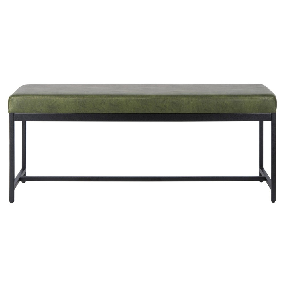 Chase Faux Leather Bench Dark Green - Safavieh