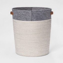 Large Coiled Rope Round Floor Storage Bin Gray - Pillowfort™
