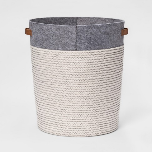Large Coiled Rope Round Floor Storage Bin Gray - Pillowfort™ - image 1 of 2